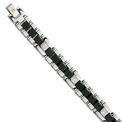 Bracelet homme céramique, or, diamant - l'Elégant - Lyn&Or Bijoux