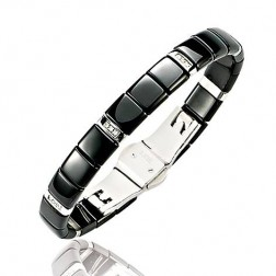 Bracelet en acier, Céramique noire, Diamant - Sidney