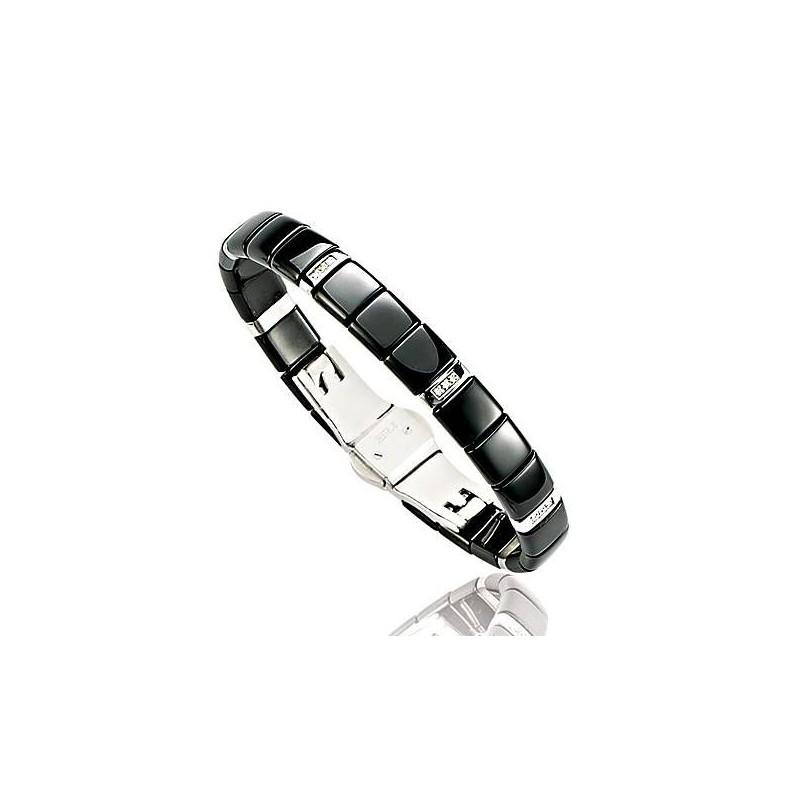 bracelet femme en céramique noire, diamant, or - Bijoux femme