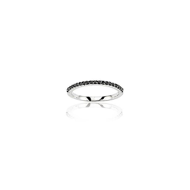 Bague diamant et or blanc 18 carats noir, Subtile
