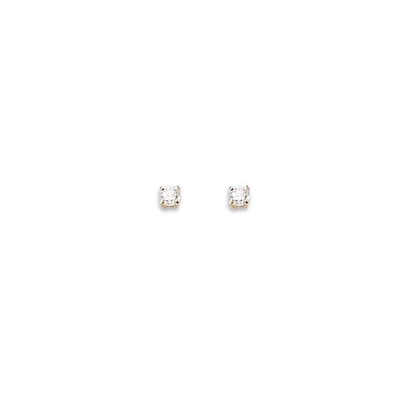 Boucles d'oreilles puces en or 18 carats et diamant 3 mm - Juste Sublime