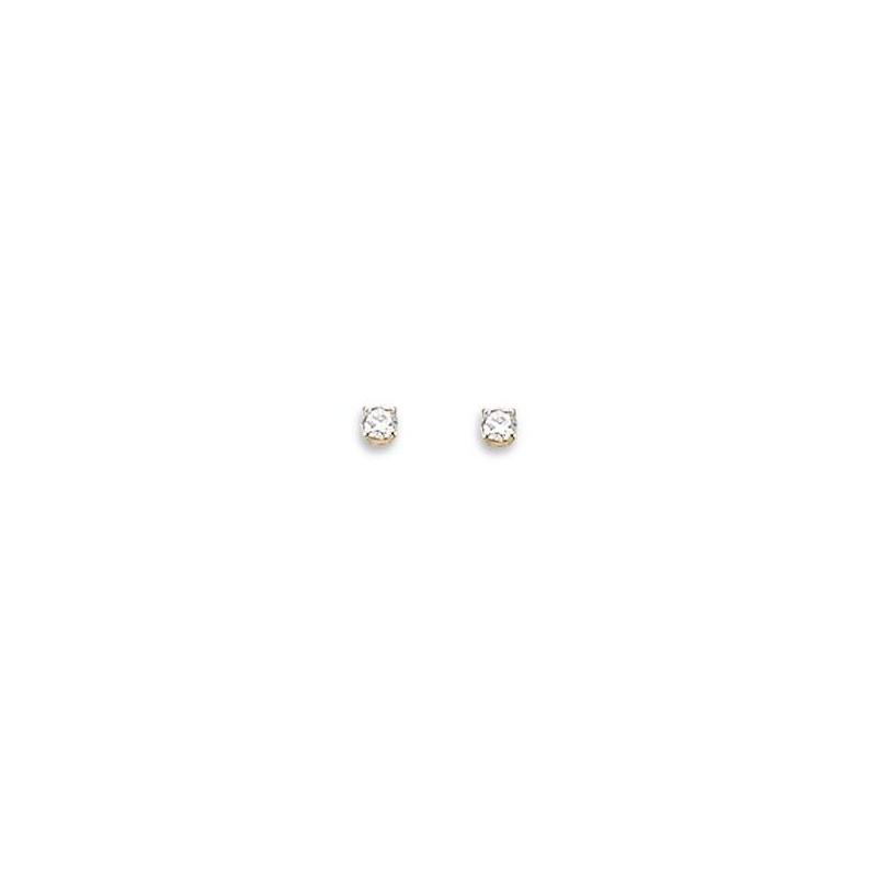 Boucles d'oreilles puces en or 18 carats et diamant 2 mm