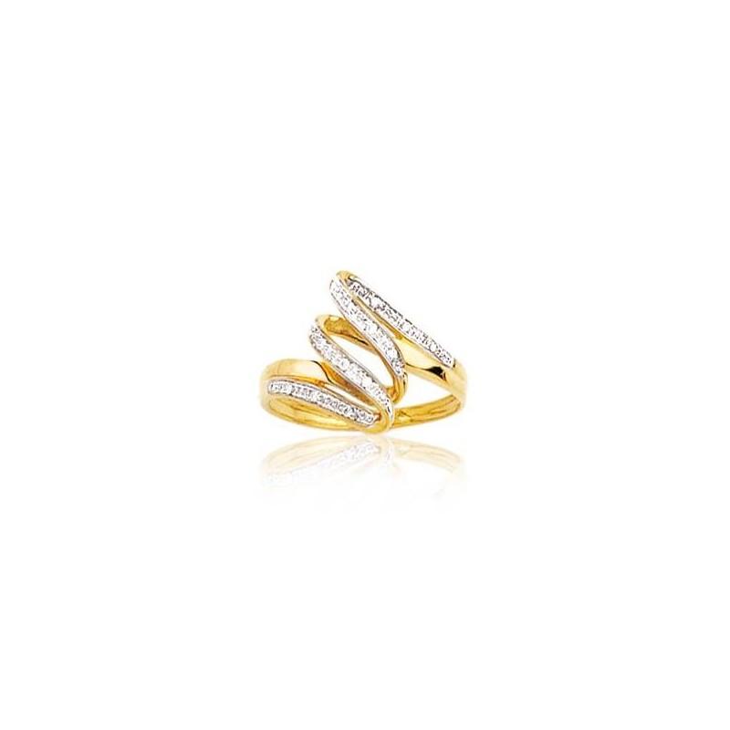 Bague diamant et or jaune 18 carats, pour femme, Mirages