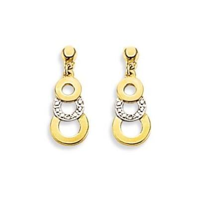 Boucles d'oreilles or jaune 18 carats et Diamant pour femme, Salamanca