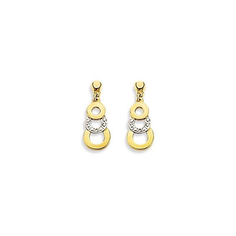 Boucles d'oreille femme, pendant en or bicolore & Diamant - Salamanca - Lyn&Or Bijoux