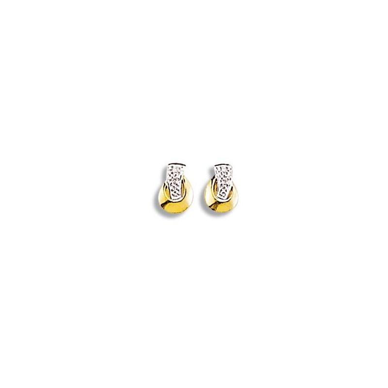 Boucles d'oreilles or deux tons et diamants pour femme, Trésor