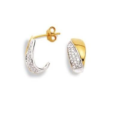 Boucles d'oreille femme en diamant et or bicolore - Diamant Chic - Lyn&Or Bijoux