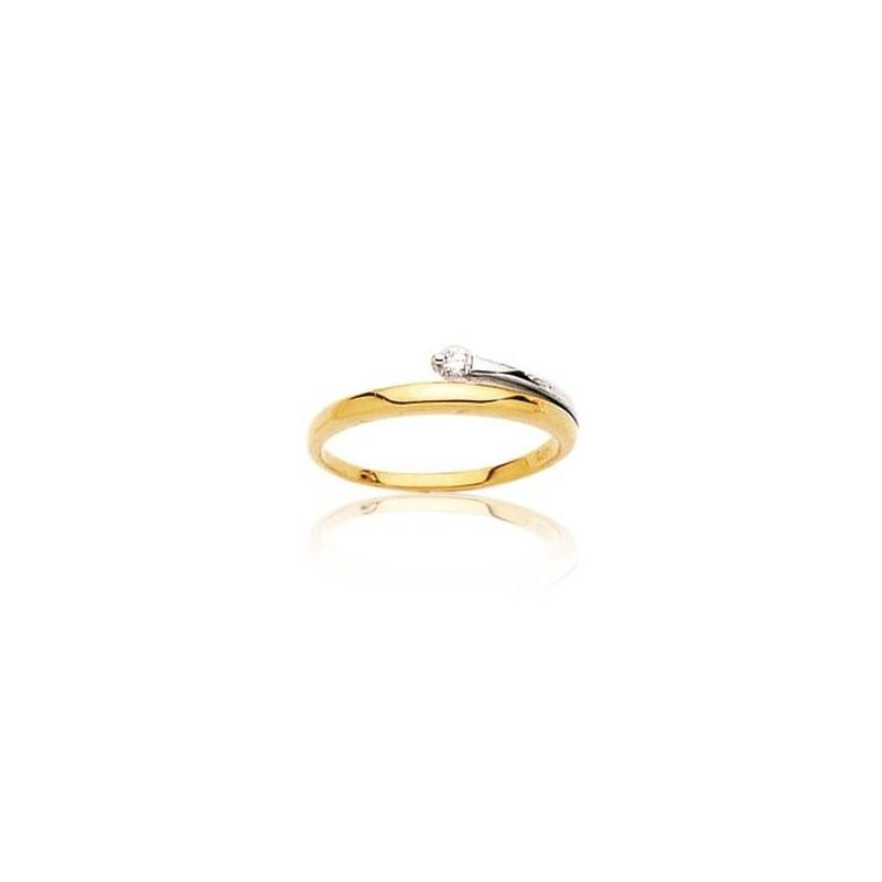 Bague diamant et or jaune 18 carats, pour femme, Infini