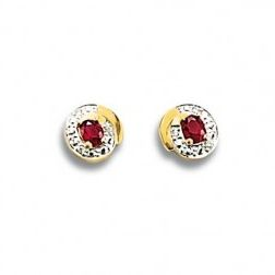 Boucles d'oreilles femme, rubis, or & diamants, Constance - Lyn&Or Bijoux