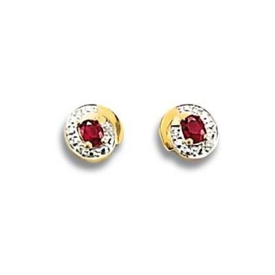 Boucles d'oreilles or, diamant et rubis - Constance