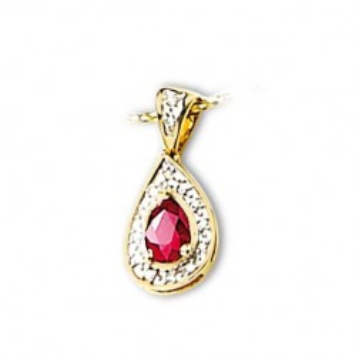 Pendentif en or 18 carats, diamant et rubis - Duchesse