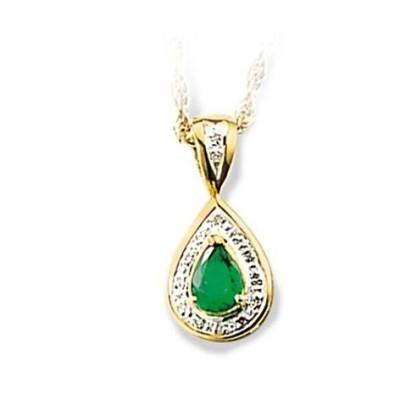 Pendentif en or, diamant et émeraude pour femme - Baronne