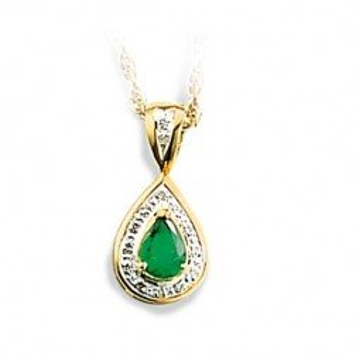 Pendentif femme en or, diamant et émeraude verte, Baronne - Lyn&Or Bijoux