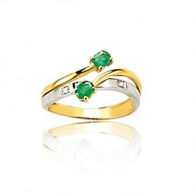 Bague émeraude, diamants en or deux tons 18 carats pour femme