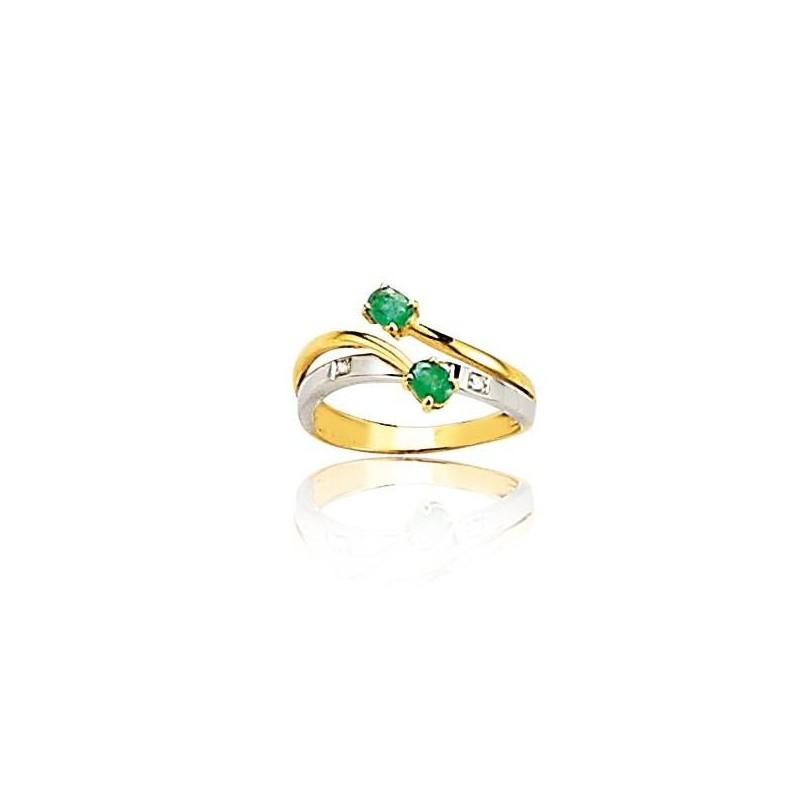 Bague femme, émeraude & diamants en or 2 tons - Danse - Lyn&Or Bijoux