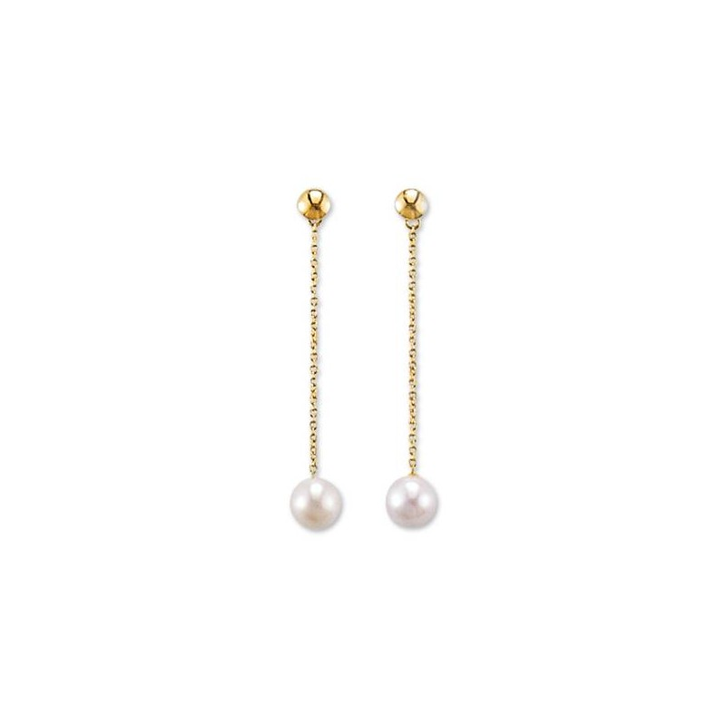 Boucle d'oreilles perle blanche et or jaune, Discrétion
