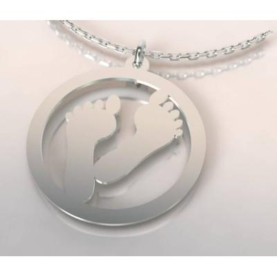 Collier de créateur en argent pour femme - Empreinte - Lyn&Or Bijoux