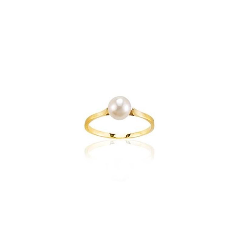Bague perle d'eau douce blanche en or jaune 18 carats, Soft Pearl