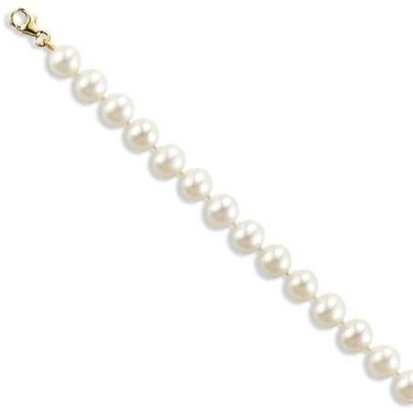 Gourmette perles de culture blanches 6 mm et or 18 carats