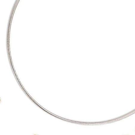 Collier câble or blanc 18k pour femme, Oméga 2 mm