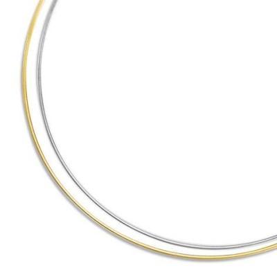 Collier Oméga réversible or blanc, or jaune pour femme - Reverso - Lyn&Or Bijoux