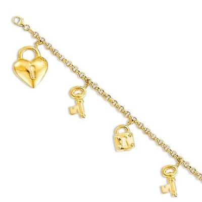 Bracelet breloques coeur en or jaune 18 carats pour femme