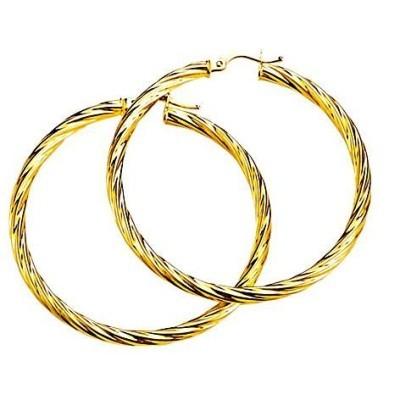 Boucles d'oreilles créoles femme en or 18 carats, 40 mm - Biguine - Lyn&Or Bijoux
