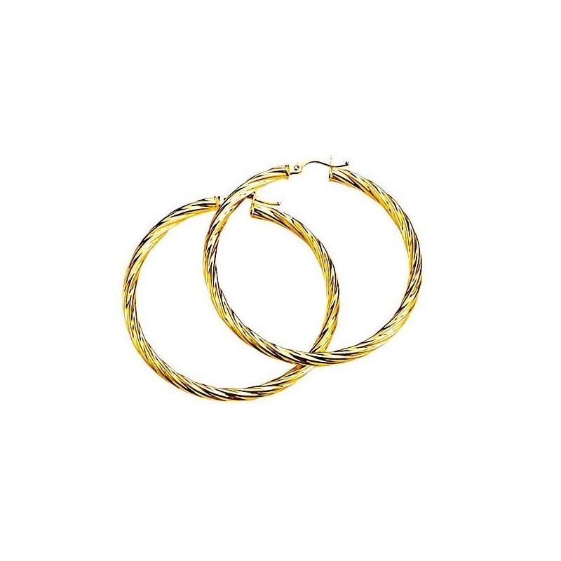 boucle oreille créole en or 18 carats pour femme, fil torsadé
