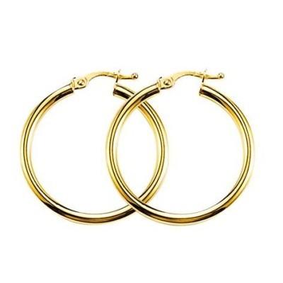 Boucles Créoles or jaune 18 carats pour femme, Lumières 30 mm