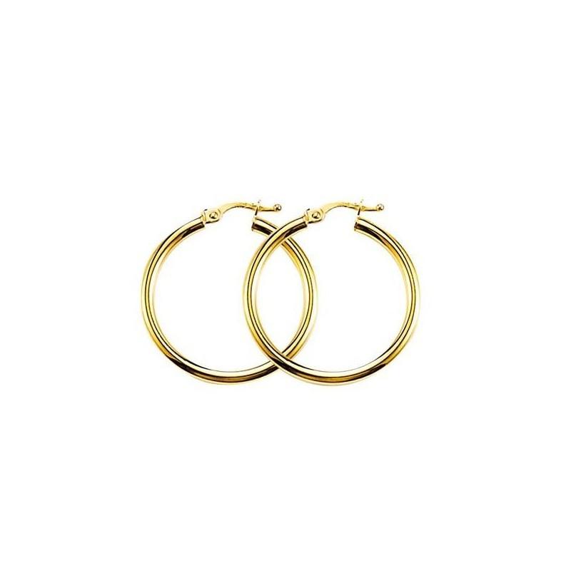 Créoles or jaune 18 carats 3 cm pour femme - Lumières - Lyn&Or Bijoux