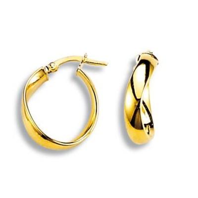 boucles d'oreilles créoles originales en or jaune 18 carats - Bijoux femme