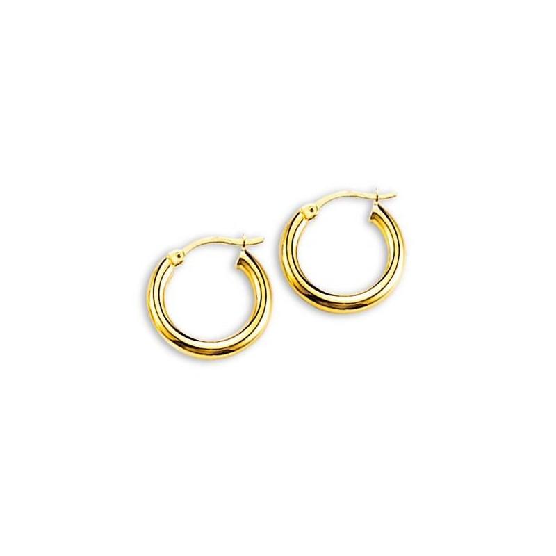 Boucles Créoles 16mm or jaune 18 carats pour femme, Lumières