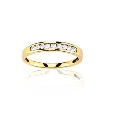 Alliance femme en or jaune 18 carats & zircon - Je te veux - Lyn&Or Bijoux
