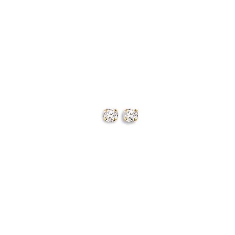 Boucles d'oreille femme, clous en or et zircon solitaire 4mm - Persée - Lyn&Or Bijoux
