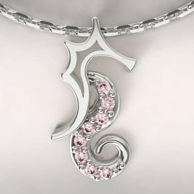 Collier créateur original mixte hippocampe Argent, Topaze rose