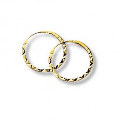 Boucles Créoles 12mm or jaune 18 carats pour femme, Epices