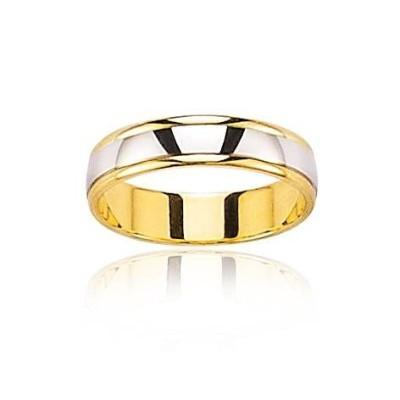Alliance en or 18 carats jaune et gris pour homme, Notre Amour