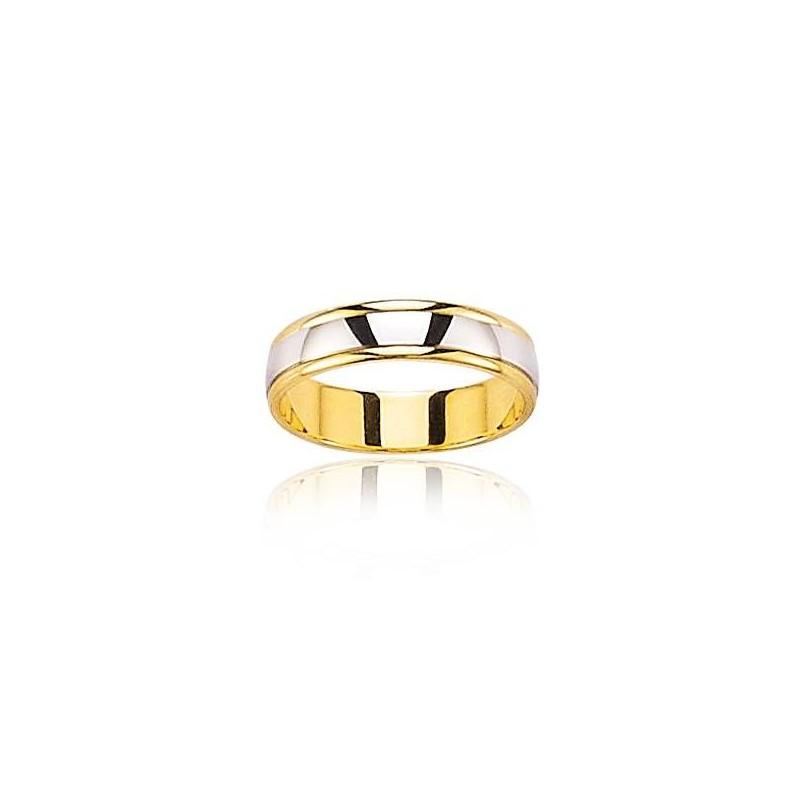 Alliance bicolore pour homme en or blanc & jaune - Notre Amour - Lyn&Or Bijoux