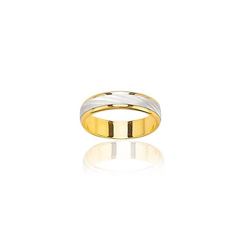 Alliance bicolore pour homme en or 18 carats - Elégance - Lyn&Or Bijoux