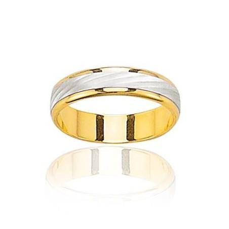 Alliance pour homme en or jaune et or blanc, Elégance