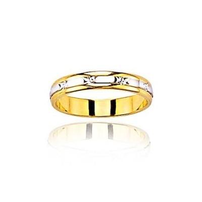 Anneau mariage pour femme or blanc et jaune, Lumière de ma Vie