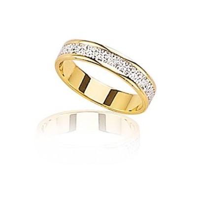 Alliance deux ors pour femme or 18 carats jaune et blanc, Bonheur