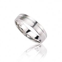 Alliance en or blanc 18 carats pour homme - Force
