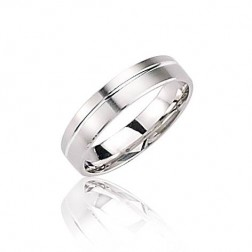 Alliance pour homme en or blanc 18 carats - Force - Lyn&Or Bijoux