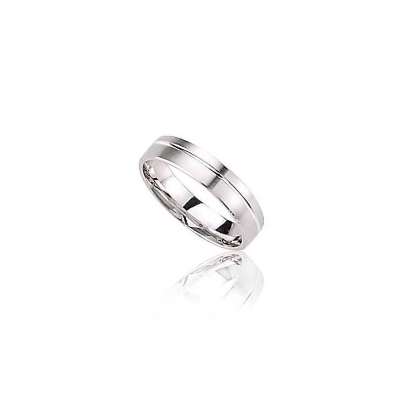 Alliance pour homme en or blanc 18 carats - Force - Lyn&Or Bijoux