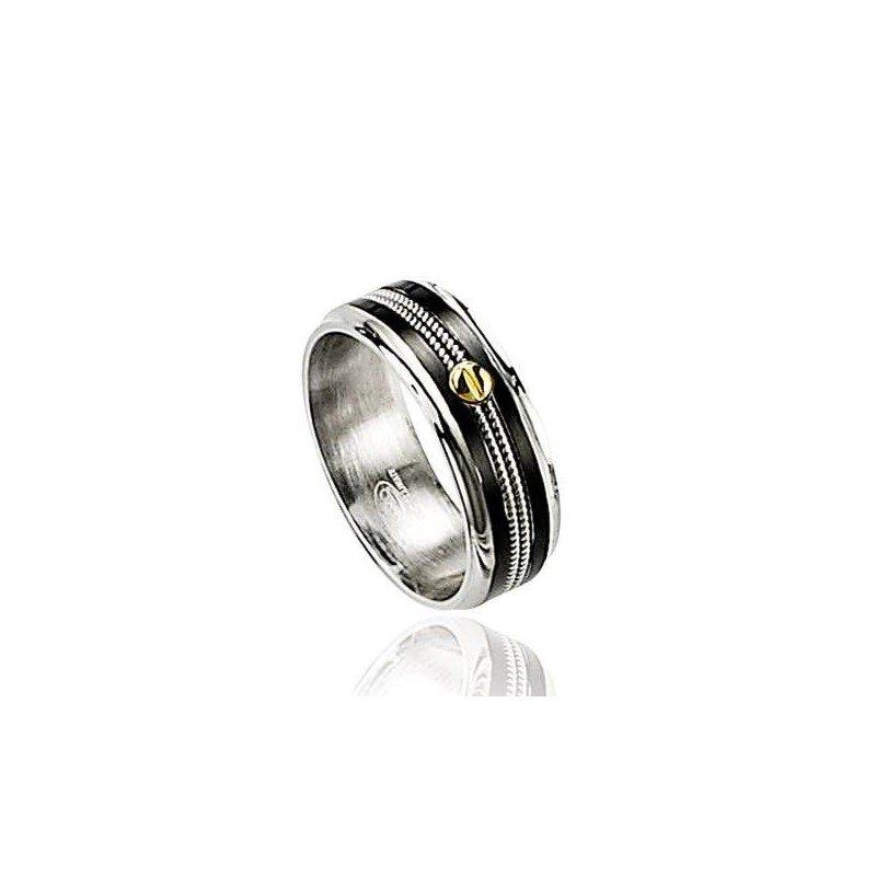 Bague pour homme, anneau en acier bicolore et or - Style - Lyn&Or Bijoux