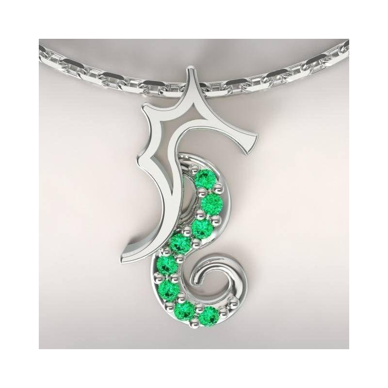 Collier créateur original mixte hippocampe Argent, Topaze vert