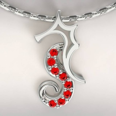Collier créateur original mixte hippocampe Argent, Topaze rouge
