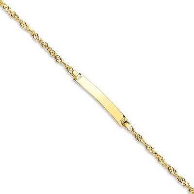 Bracelet gourmette bébé or jaune 18 carats, Maille Singapour