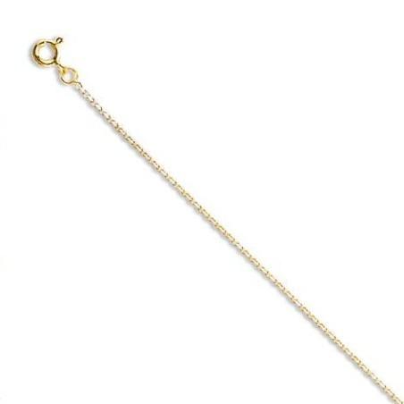Chaîne or jaune 18 carats pour femme, Maille forçat limée 1mm
